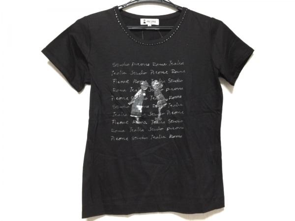 PICONE(ピッコーネ) 半袖カットソー サイズ38 S レディース 黒 刺繍/ビーズ
