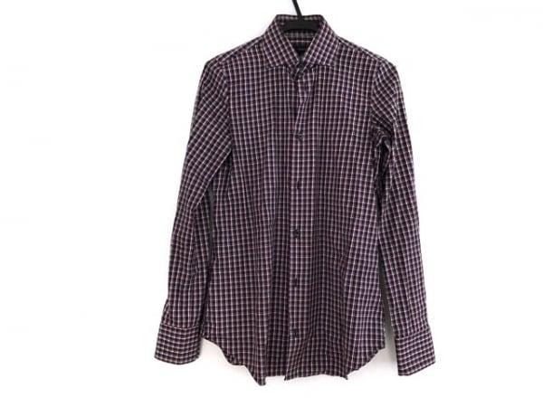 ディースクエアード 長袖シャツ サイズ42 XS メンズ ダークネイビー×ボルドー×白