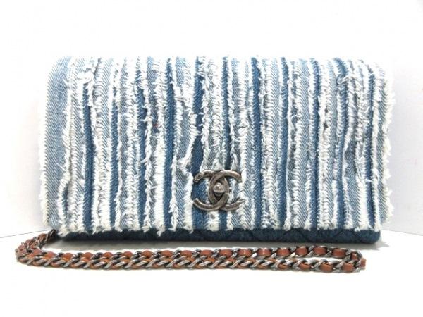 CHANEL(シャネル) ショルダーバッグ マトラッセ A92799 ブルー×白 デニム×レザー