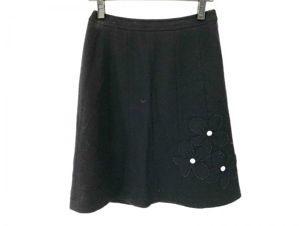 ソニアリキエル スカート サイズ38 M レディース 黒 フラワー/ラインストーン