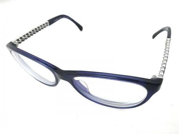 シャネル メガネ 3301-A ネイビー×シルバー×クリア 度入り プラスチック×金属素材