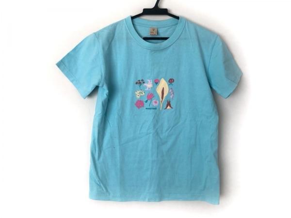 モンベル 半袖Tシャツ サイズM レディース ライトブルー×ピンク×マルチ フラワー