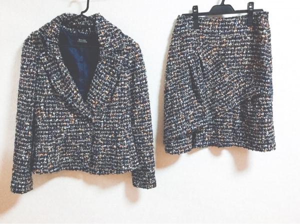 リツコシラハマ スカートスーツ サイズ2 M レディース ネイビー×マルチ ツイード