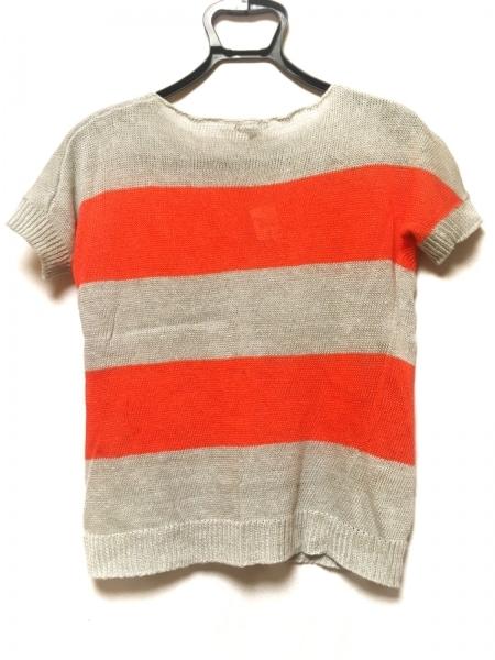 theory(セオリー) 半袖セーター サイズS レディース グレー×オレンジ ボーダー