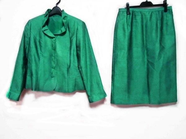 レリアン スカートスーツ サイズ13+ S レディース美品  ブルーグリーン 肩パッド
