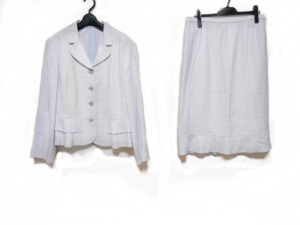 Leilian(レリアン) スカートスーツ サイズ13+ S レディース ブルー×白 肩パッド