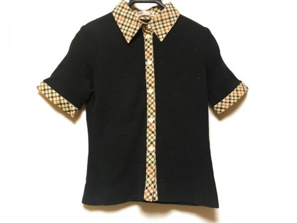 DAKS(ダックス) 半袖シャツブラウス サイズM レディース 黒×ベージュ×ブラウン