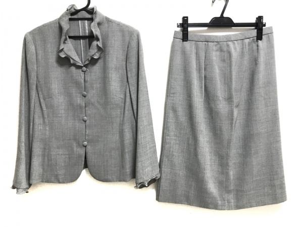 レリアン スカートスーツ サイズ15 L レディース美品  黒×ライトグレー 肩パッド
