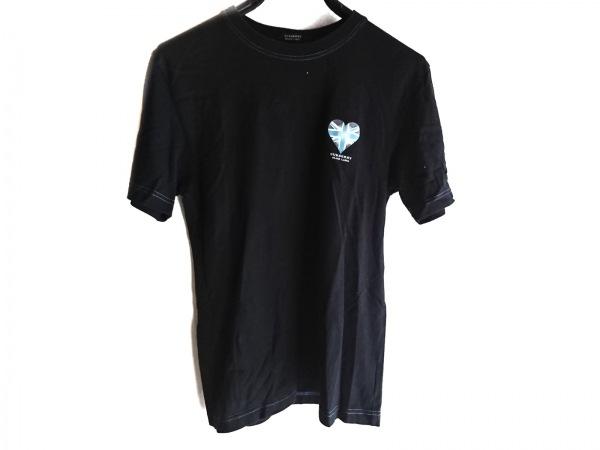 バーバリーブラックレーベル 半袖Tシャツ サイズ2 M メンズ 黒×ライトブルー×マルチ