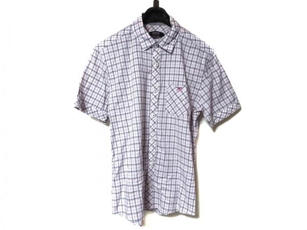 バーバリーブラックレーベル 半袖シャツ サイズ2 M メンズ美品  ピンク×グレー×白