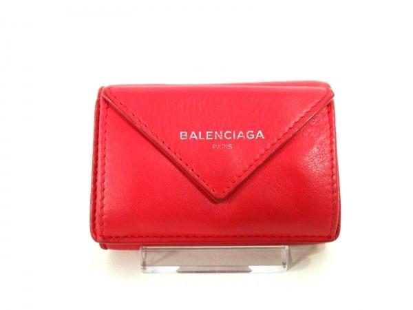 BALENCIAGA(バレンシアガ) 3つ折り財布 ペーパーミニウォレット 391446 レッド レザー