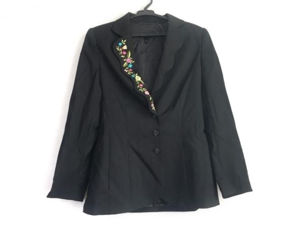 ESCADA(エスカーダ) ジャケット サイズ34 S レディース美品  黒×マルチ 刺繍