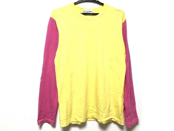 コムデギャルソンシャツ 長袖Tシャツ サイズM メンズ イエロー×ピンク