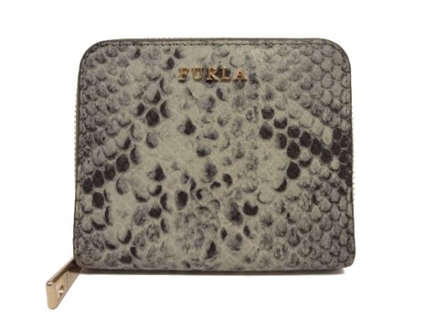 FURLA(フルラ) 2つ折り財布 グレー×黒 型押し加工/ラウンドファスナー レザー