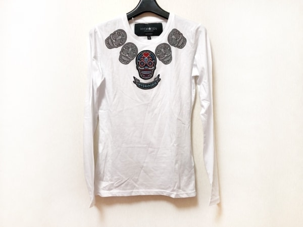 HYDROGEN(ハイドロゲン) 長袖Tシャツ サイズS レディース美品  白×黒×マルチ 刺繍