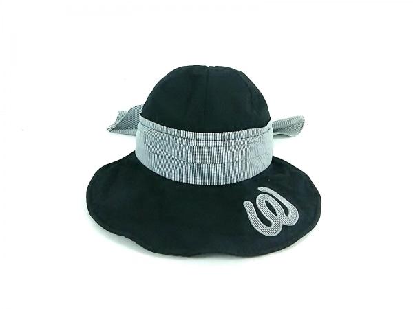 ミエコウエサコ 帽子 F 黒×白 チェック柄 コットン×麻×ポリエステル