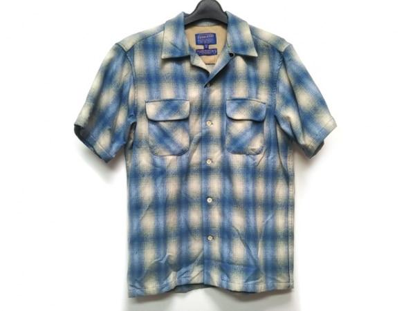 PENDLETON(ペンドルトン) 半袖シャツ サイズM メンズ ベージュ×ブルー チェック柄