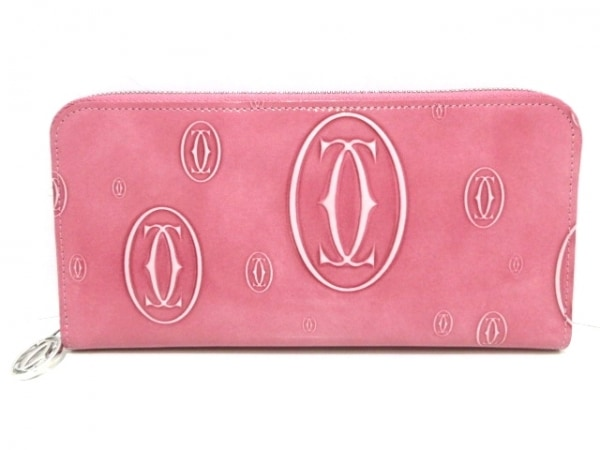 カルティエ 長財布美品  ハッピーバースデー L3001255 ピンク×白 ラウンドファスナー