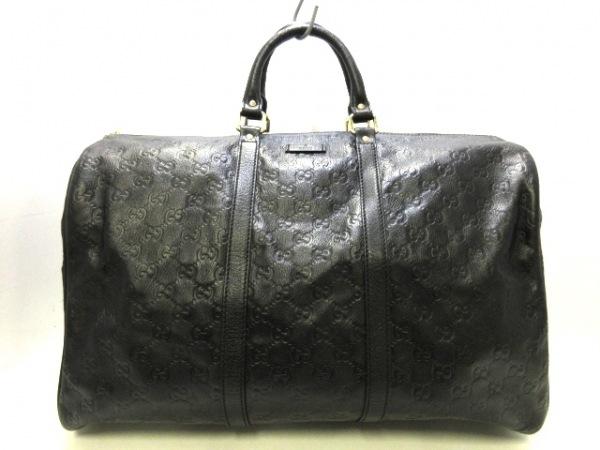 GUCCI(グッチ) ボストンバッグ美品  シマライン 206501 黒 レザー