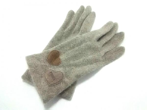 FURLA(フルラ) 手袋 レディース美品  ベージュ×ブラウン ハート ウール×スエード