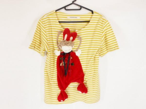 ポテチーノ 半袖Tシャツ サイズ55 レディース美品  アイボリー×イエロー×マルチ