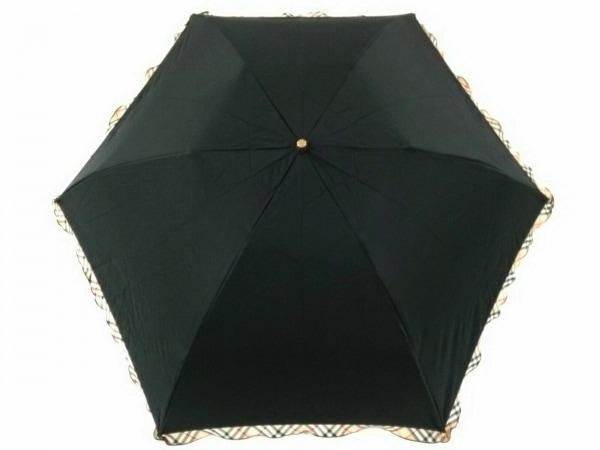 バーバリー 折りたたみ傘美品  黒×ライトブラウン×マルチ チェック柄 化学繊維