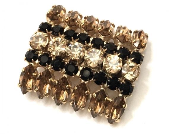 MARNI(マルニ) ブローチ美品  金属素材×ラインストーン ゴールド×クリア×黒