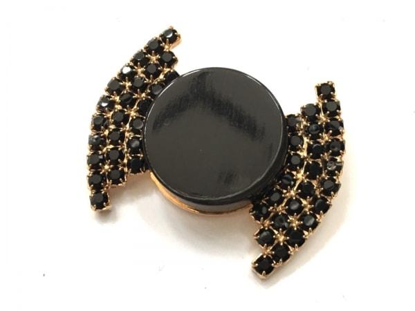 MARNI(マルニ) ブローチ美品  金属素材×プラスチック×ラインストーン ゴールド×黒