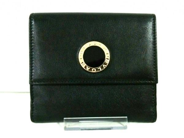 BVLGARI(ブルガリ) Wホック財布美品  ブルガリブルガリ 32384 黒 レザー