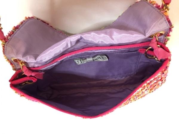 MUGUET(ミュゲ) ショルダーバッグ ピンク×ネイビー×マルチ コットン×化学繊維