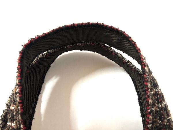 ミュゲ トートバッグ 黒×ボルドー×マルチ リボン/ツイード ウール×化学繊維