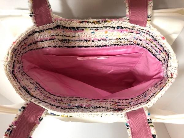 MUGUET(ミュゲ) トートバッグ 白×ピンク×マルチ リボン/ツイード