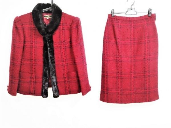 レリアン スカートスーツ サイズ9 M レディース レッド×黒 肩パッド/ツイード/ファー