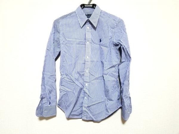 ラルフローレン 長袖シャツ サイズ4/160/88A レディース美品  ブルー×白