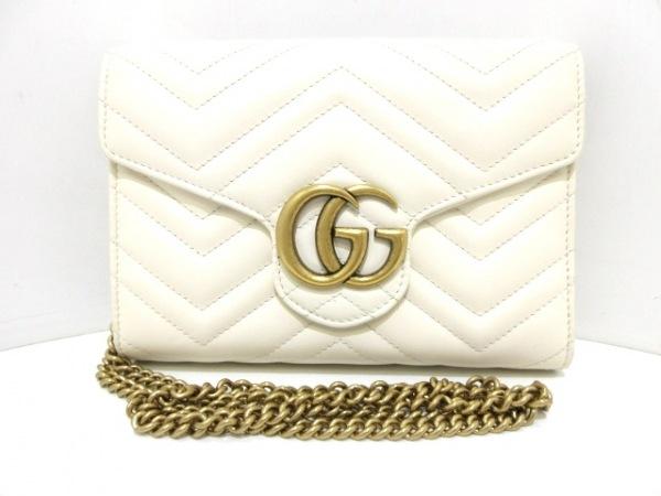GUCCI(グッチ) 財布美品  GGマーモント 474575 アイボリー×ゴールド レザー