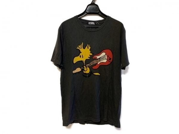 ヒステリックグラマー 半袖Tシャツ サイズM メンズ ダークグレー×イエロー×マルチ