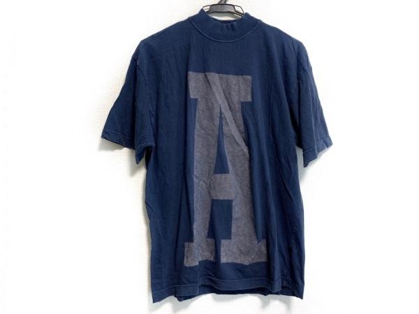 アルマーニジーンズ 半袖Tシャツ サイズS メンズ ネイビー×ダークグレー ハイネック
