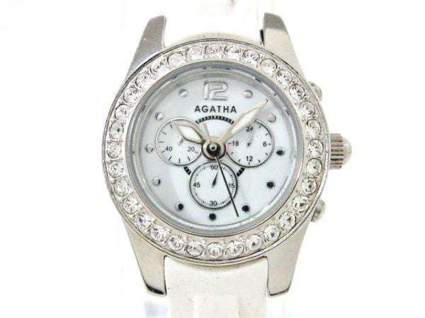 AGATHA(アガタ) 腕時計美品  - レディース クロノグラフ/ラインストーンベゼル 白