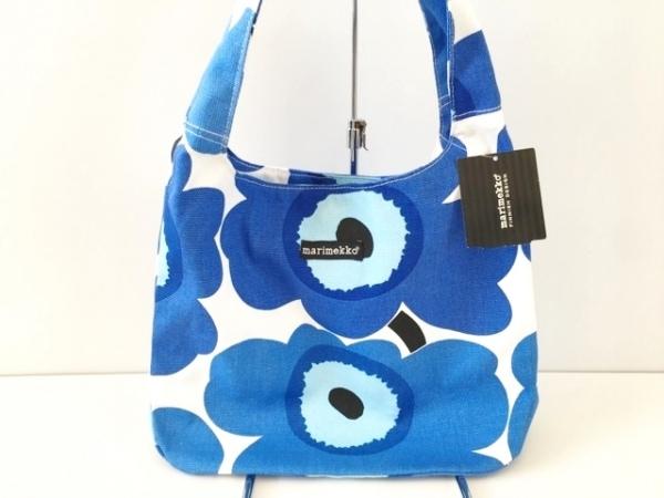 marimekko(マリメッコ) ショルダーバッグ ブルー×白 キャンバス