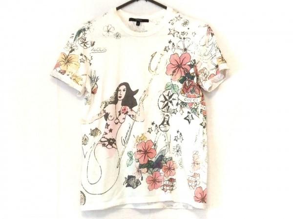 GUCCI(グッチ) 半袖Tシャツ サイズS レディース 白×ピンク×マルチ