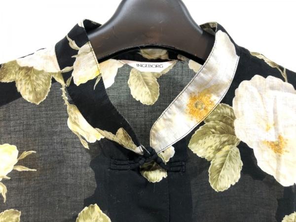 インゲボルグ 半袖シャツブラウス サイズM レディース美品  黒×アイボリー×マルチ
