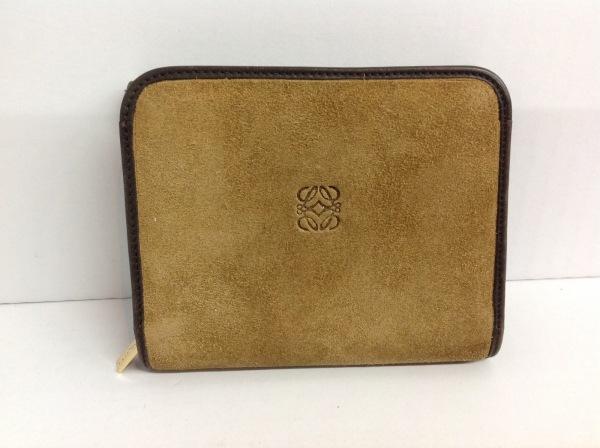 LOEWE(ロエベ) 2つ折り財布 - ベージュ×ダークブラウン ラウンドファスナー