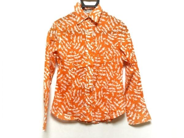 PICONE(ピッコーネ) 長袖シャツブラウス サイズ8 M レディース オレンジ×白 花柄