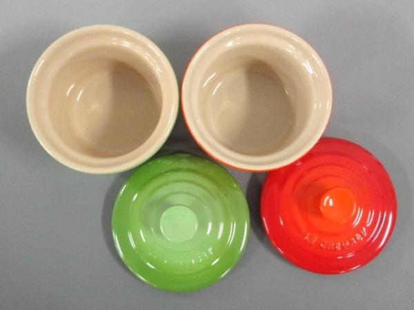 ルクルーゼ 食器新品同様  オレンジ×グリーン ココット/2個セット 3