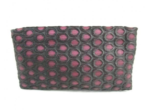 PRADA(プラダ) クラッチバッグ - 黒×ピンク ジャガード