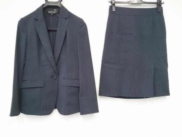 INDIVI(インディビ) スカートスーツ サイズ36 S レディース ネイビー×白 ストライプ