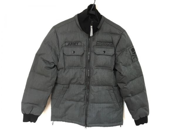 HYDROGEN(ハイドロゲン) ダウンジャケット サイズL メンズ ダークグレー×黒 冬物