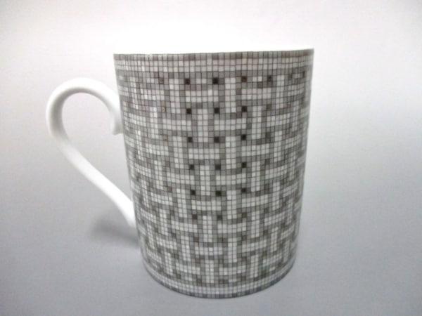 HERMES(エルメス) マグカップ新品同様  モザイク 白×グレー×ダークグレー 陶器
