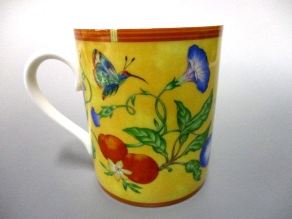 HERMES(エルメス) マグカップ新品同様  シエスタ イエロー×マルチ 花柄/鳥 陶器