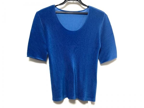 プリーツプリーズ 半袖Tシャツ サイズ3 L レディース美品  ブルー プリーツ